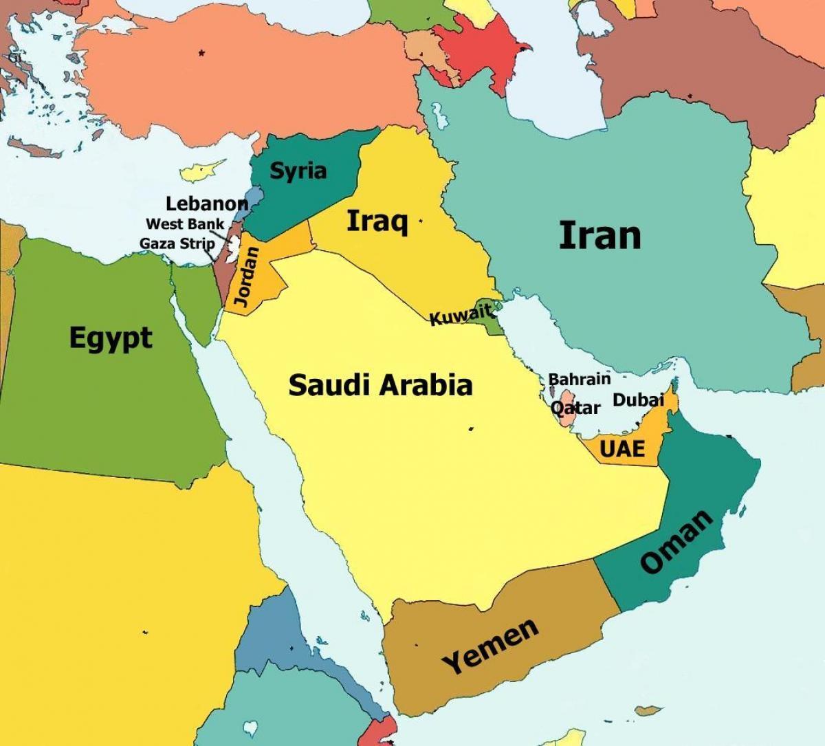 Dubaj Mapa Stredniho Vychodu Dubaj Mapa Blizkeho Vychodu